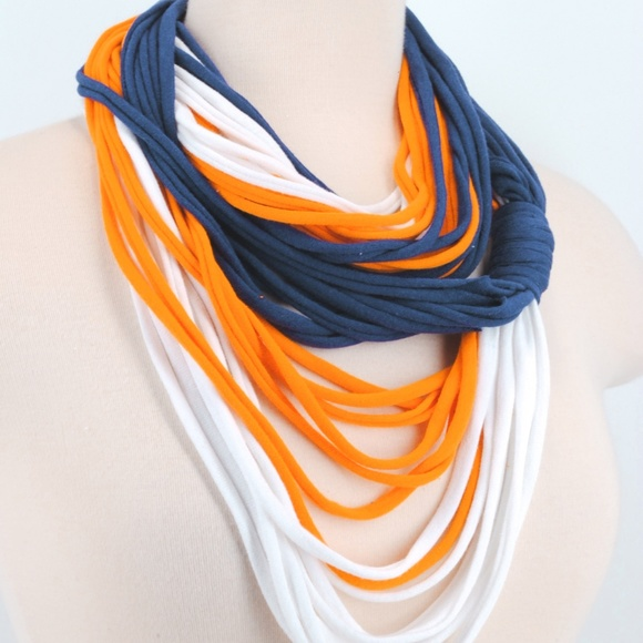 Sports Team Accessories Blue and Orange Woven Infinity Scarf with Fringe